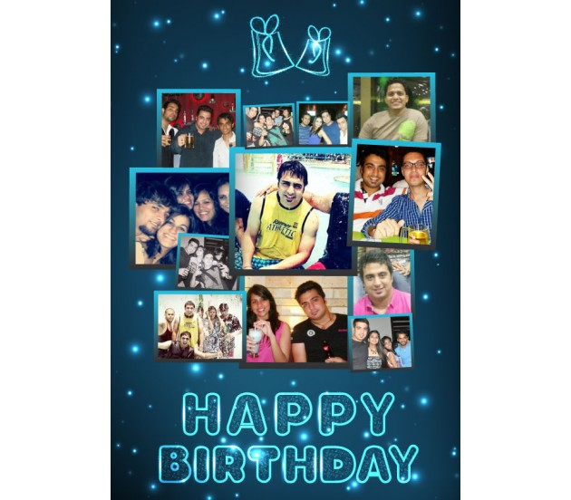 Bright Blue Collage Happy Birthday Card