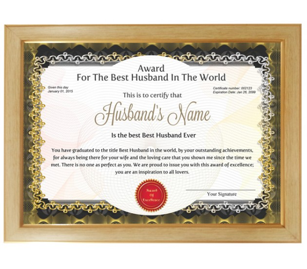 Husband of the year award certificate yeniscale husband of the year award certificate yelopaper Choice Image