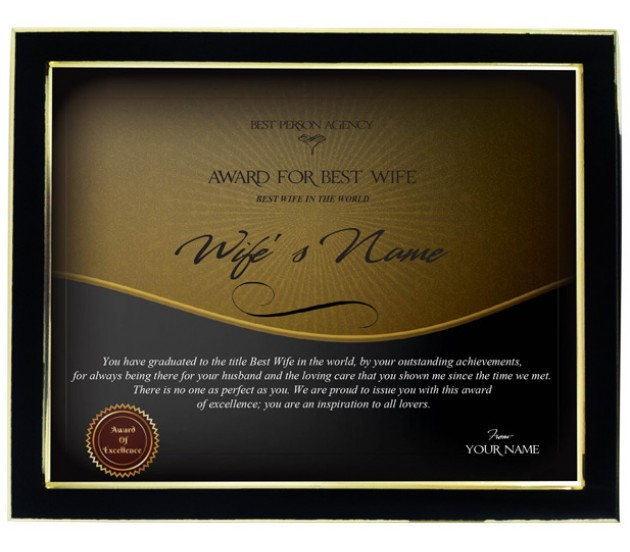 personalized certificate for worlds best wife with frame