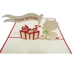 Happy Birthday Puppy and Flag Laser Cut Specially Imported from UK