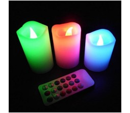 12 Color Changing Set of 3 LED Wax Candles With Remote