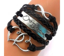 1D / One Direction TWIN HEARTS + INFINITY + ONE DIRECTION LEATHER BRACELET