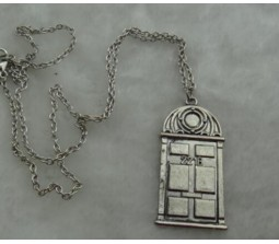 Detective Sherlock Sherlock Holmes Door to 221B Vintage Chain Necklace SILVER