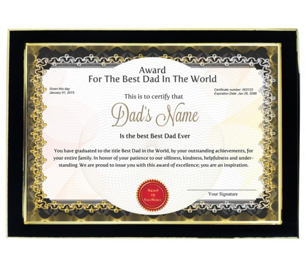 personalized award certificate for worlds best dad with frame