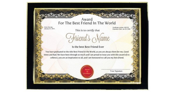 Personalized Award Certificate For Worlds Best Friend With Frame
