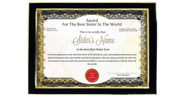 personalized award certificate for worlds best sister with