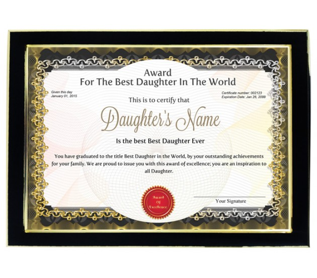 Personalized Award Certificate For Worlds Best Daughter With Frame