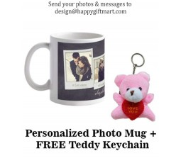 Personalized Collage Mug With Your Photos & Messages With Free Teddy Keychain