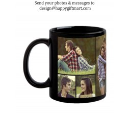 Personalized Black Collage Mug With Your Photos & Messages