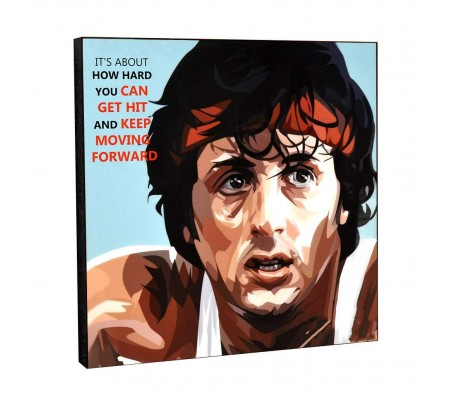Rocky Balboa Keep Moving Forward Motivational Inpirational Quote Pop Art Wooden Frame Poster