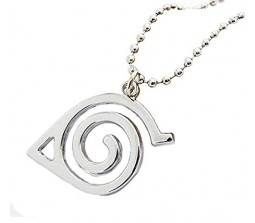 Naruto Inspired Double Bands Konoha Sign Logo Pendant Necklace