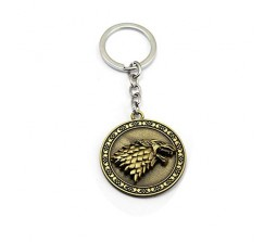 Game of Thrones Rotating House Stark Winter is Coming Wolf Head Key Chain Ring for Fans Metal Keychain, Gold