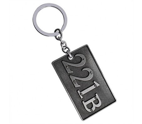 Sherlock Holmes 221B Double Sided 3D Metal Keychain Grey Detective Logo Key Chain