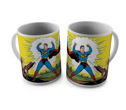 Superman in Action Getting Shot Ceramic White Tea/Coffee Mug Qty 1