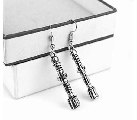 Doctor Who Sonic Screwdriver Antique Silver Earrings Alloy Drops & Danglers