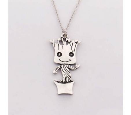 Guardians of The Galaxy Baby Groot Dancing Silver Pendant Necklace Silver Alloy Pendant