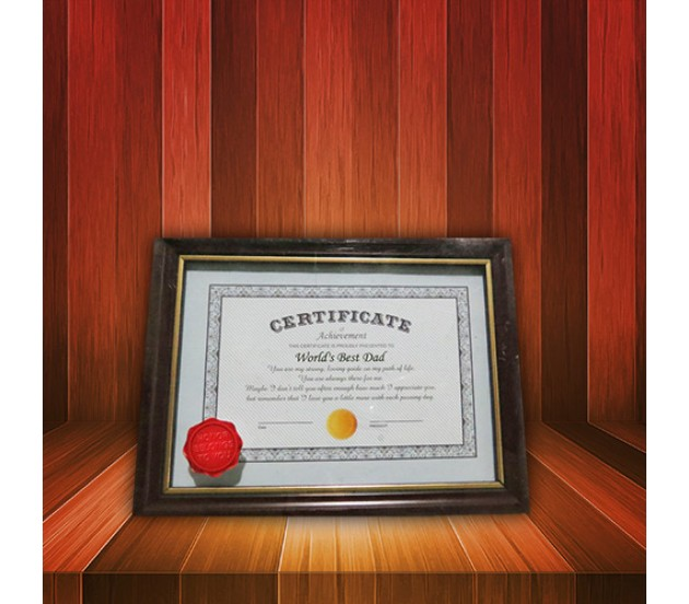 certificate for worlds best dad with frame