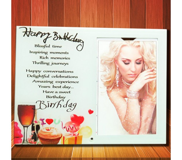 Happy Birthday Glass Photo Frame With I Love You Cake & Party Items