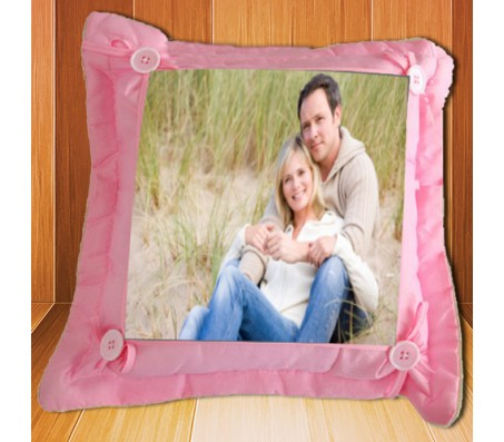 Personalized Pink Pillow Square With Buttons [12 x 12 inches]