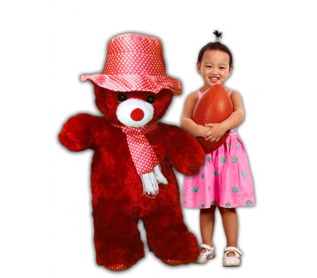 Red Teddy Bear 5 Feet, Cute Red Color Teddy Bear With Pink Hat Size 5 Feet 6 Inches