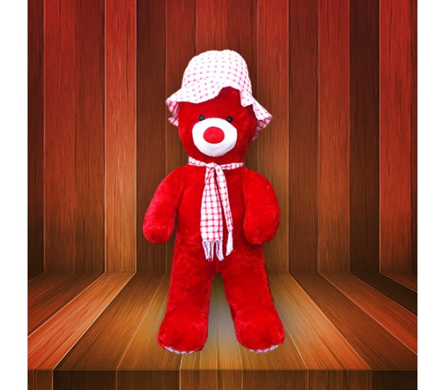 Red Teddy Bear 5 Feet, Cute Red Color Teddy Bear With White Hat Size 3 Feet 5 Inches