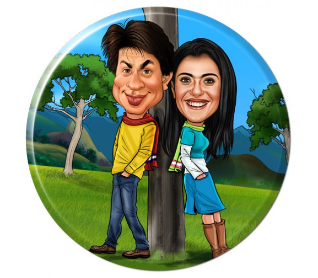 Customized Couple Caricature in Romantic Forest on Round Glass Frames