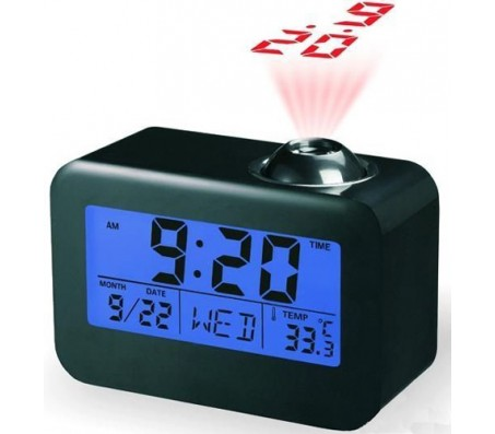 Talking Digital Alarm Clock With LED Projector & Calendar [Black]