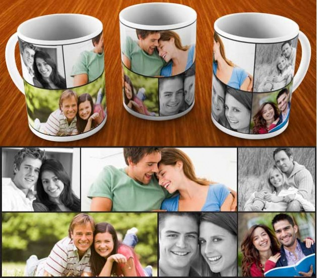 collage mug design with 6 photo option