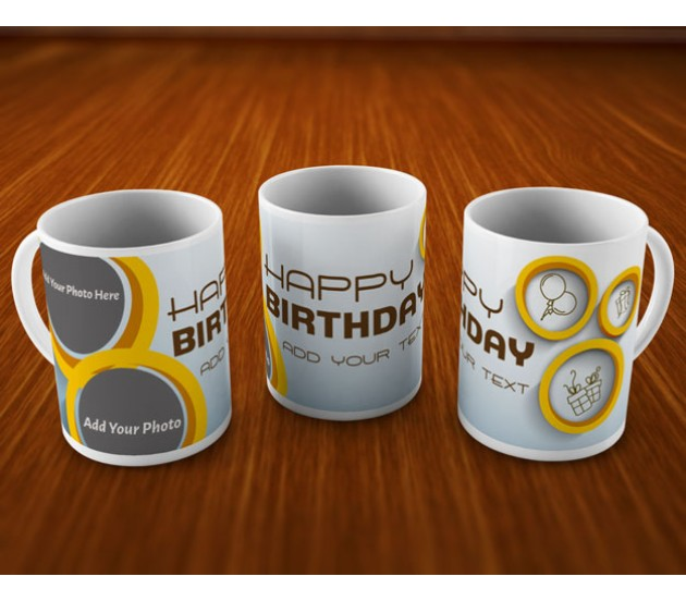 Happy Birthday Mug With Classic Blue Background