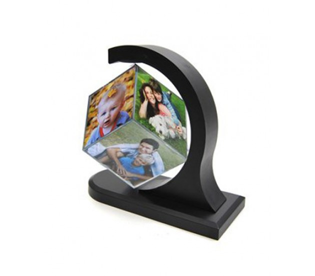 Magic Floating Cube Rotating Photo Frame With 6 Photos
