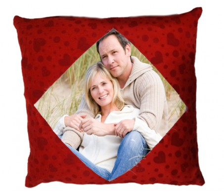 Personalized Red Color Square Pillow With Hearts [15 X 15 inches]