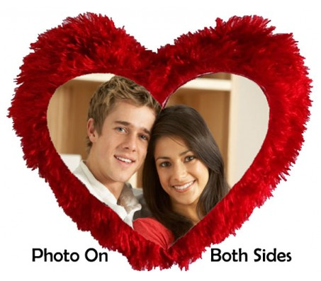 Personalized Red Pillow With 2 Sides Photo Option
