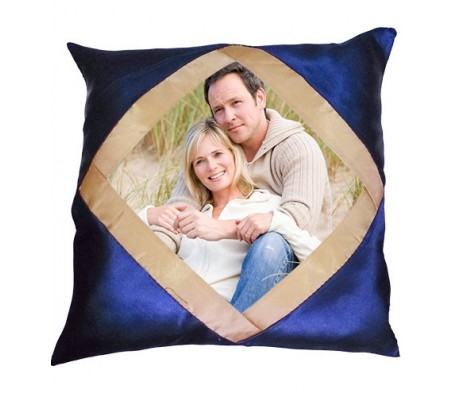 Personalized Blue Color Pillow With Golden Border