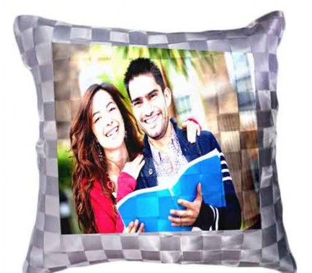 Personalized Silver Checks Pillow