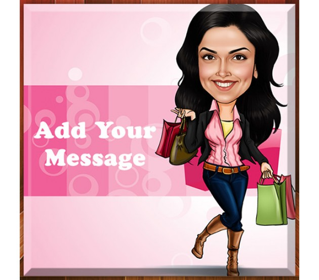 Customized Caricature In Shopping Market On Square Shape Glass Frame ...