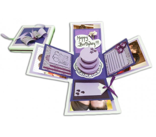 purple happy birthday exploding gift box with cake messages
