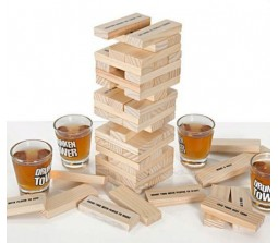 Jenga Style Drunken Tower Party Game With 4 Shot Glasses