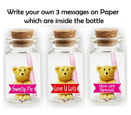 Set of 3 Message in A Bottle With Teddy & Love Messages [Sweety Pie, Love You Lots, You Are Special] Cut