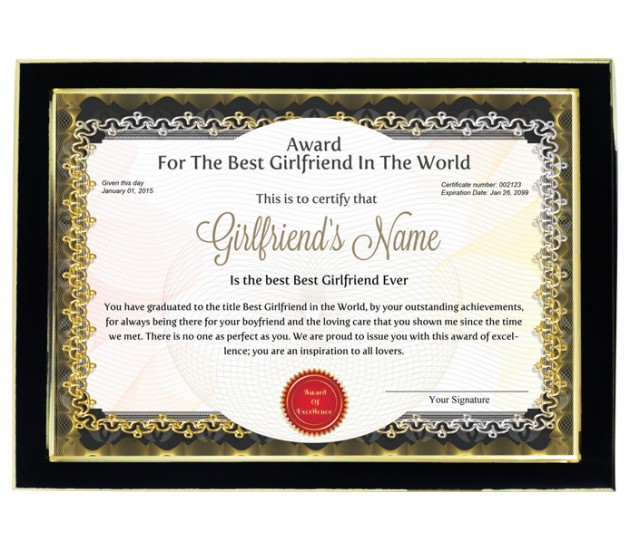 Personalized Award Certificate For Worlds Best Girlfriend With Frame