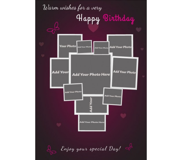 Pink Background Love Collage Happy Birthday Card