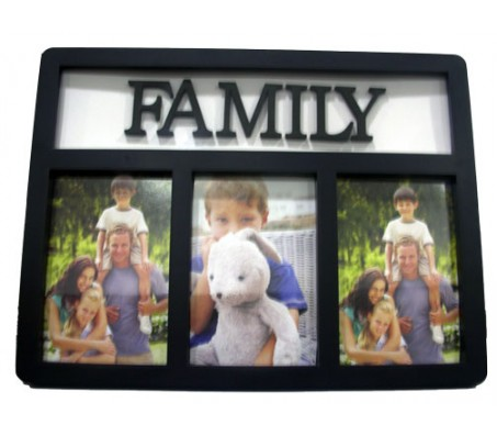 Family Collage Photo Frame 3 Photos [Black]