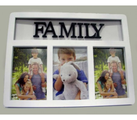 Family Collage Photo Frame 3 Photos [White]