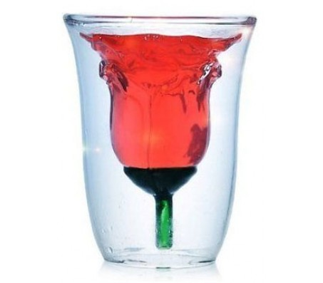Double Wall Rose Style Wine Glass Cup / Mug