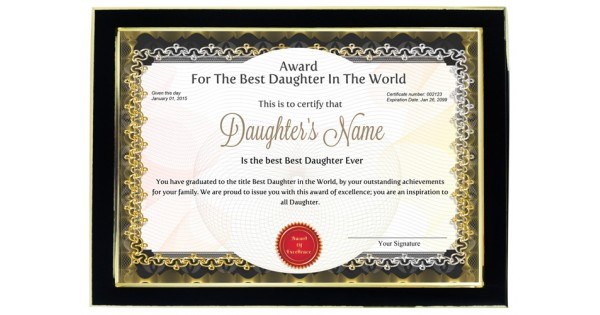 Personalized Award Certificate For Worlds Best Daughter