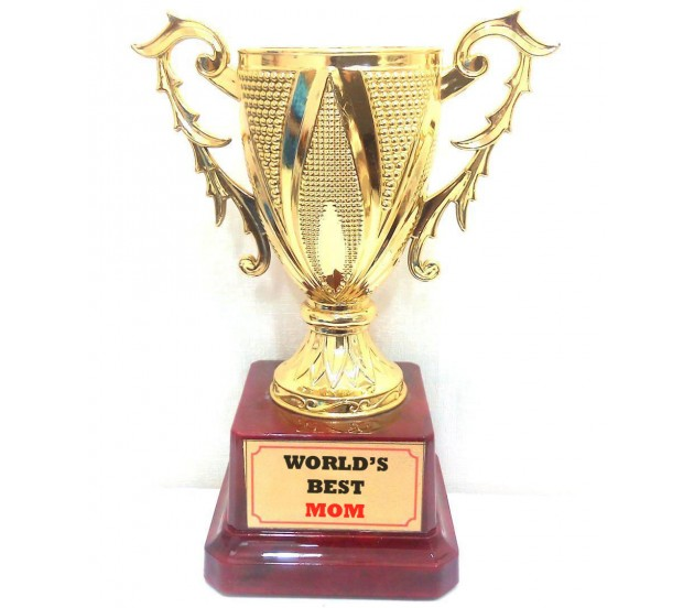 Worlds Best Mom Trophy Birthday Mothers Day Gift Quirky Small