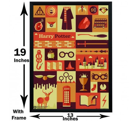 Harry Potter Icon Art Typography Poster By Happy GiftMart Licensed by WB