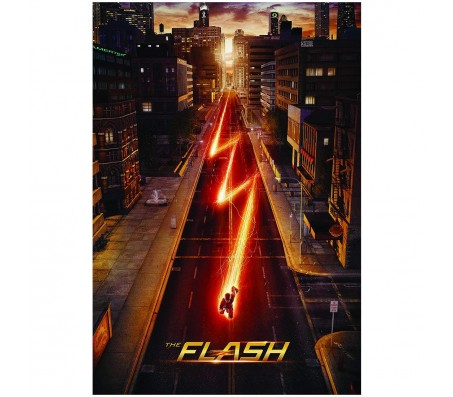 Flash Logo TV Series Sky Scraper Poster by Happy GiftMart Licensed by WB