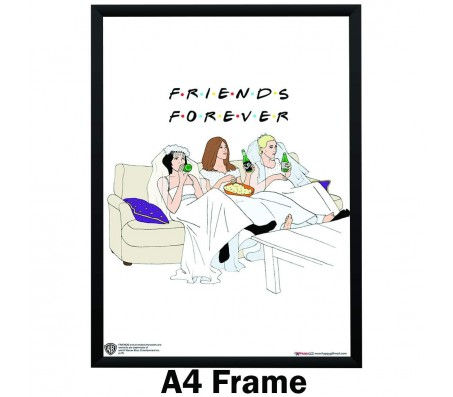 Friends Forever Monica Rachel Phoebe TV Series Wedding Dress Art Poster Greeting Card Style Poster By Happy GiftMart Licensed by WB