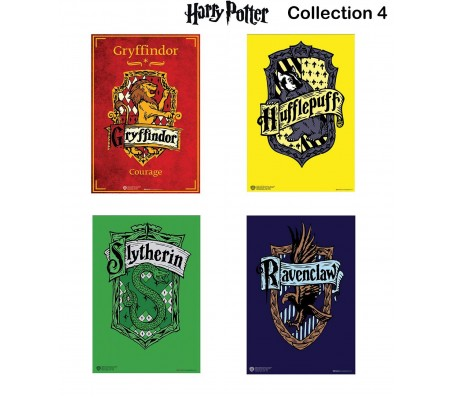 Harry Potter Set of 4 Houses Gryffindor Hufflepuff Slytherin Ravenclaw  Poster by Happy GiftMart Licensed by WB