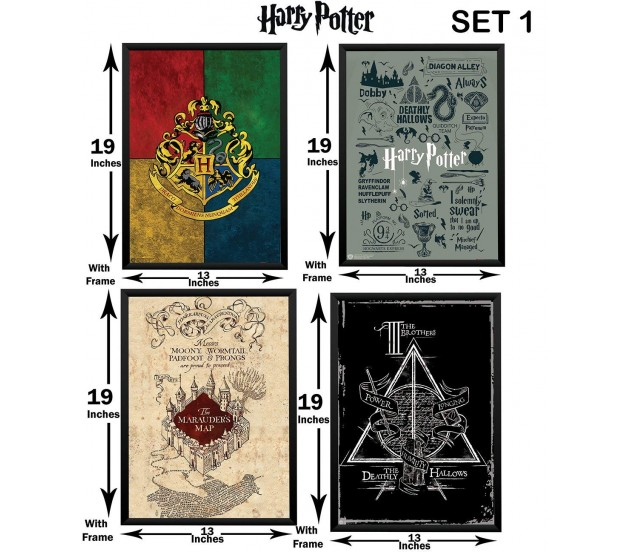 Harry Potter Set of 4 Crest Icons/Typography Marauders Map ...